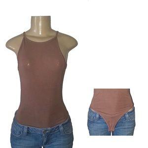 Tops - SCOTTY Skinny Strap Sleeveless Brown Leotard Small